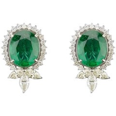 15.91 carat Oval Emerald and Diamond Stud Earrings