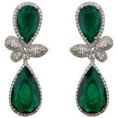 Detachable Pear Shape Colombian Emerald and Diamond Dangling Earring