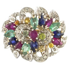 Sapphires Emeralds Rubies Diamonds Rose Gold Cluster Ring