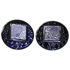 Antique Coins Iolites Spinel Silver Indian Cufflinks