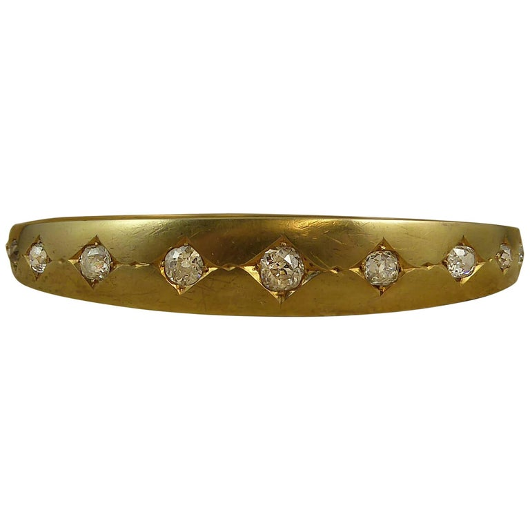 Victorian Diamond Bangle, Old Cut Diamonds in 15 Carat Gold, circa 1890