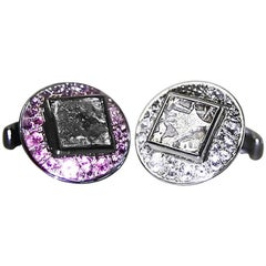 Antique Coins Rhodolites Topazes Silver Indian Cufflinks