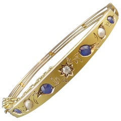 Victorian Diamond, Sapphire and Pearl Bangle, 18 Carat Gold, circa 1890-1900