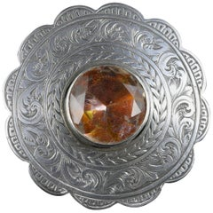 Antique Scottish Silver Round Thistle Citrine Brooch, circa 1860