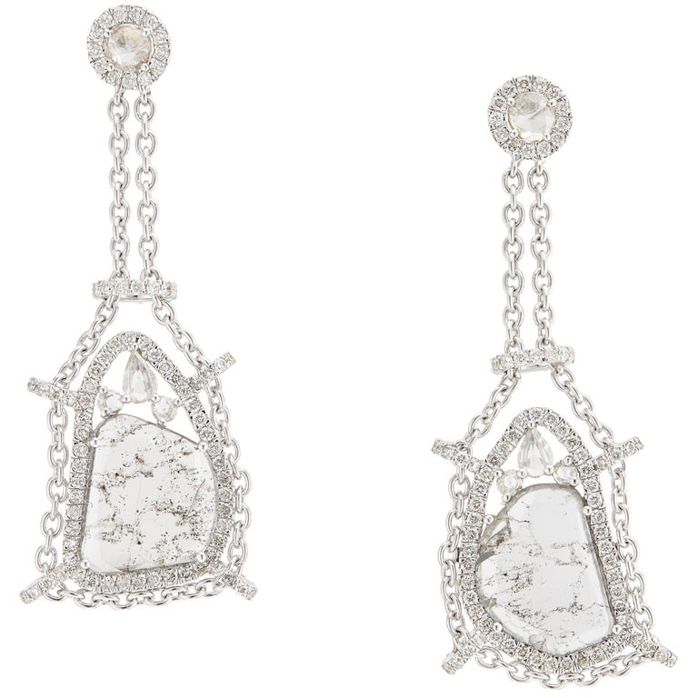 Manpriya B White Gold Swinging Rose Cut and Slice Diamond Swing Drop Earrings