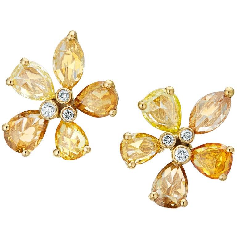 Manpriya B Gold Pear Marquise Rose Cut Coloured Diamond Flower Stud Earrings