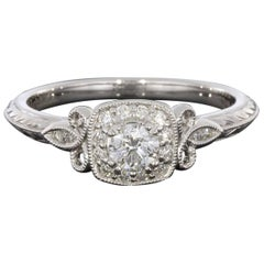 White Gold Vintage Inspired Round Diamond Cushion Halo Engagement Ring