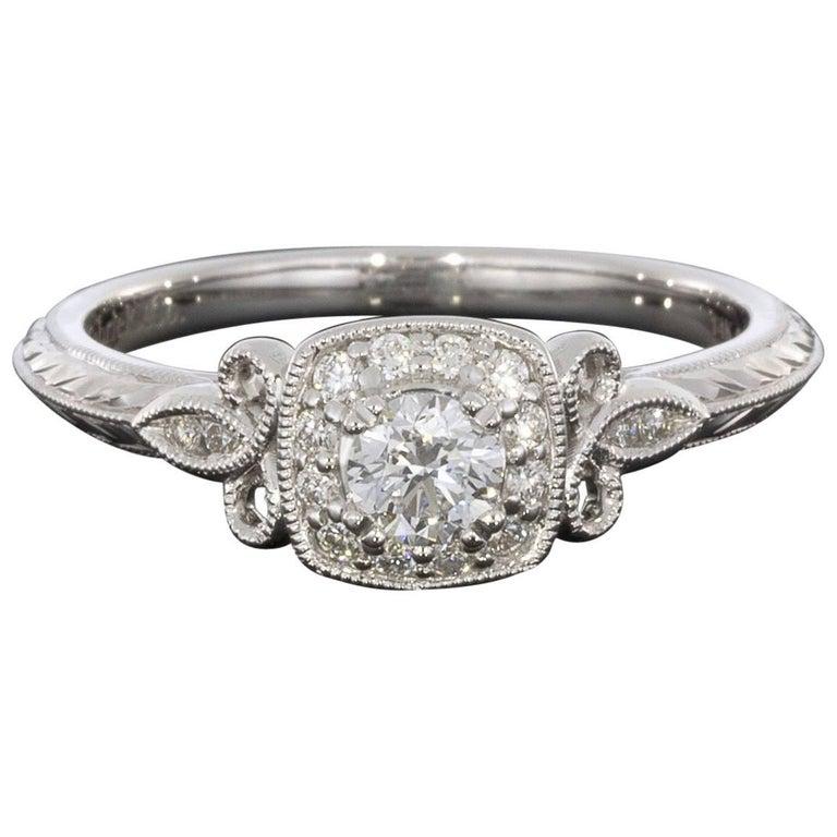 White Gold Vintage Inspired Round Diamond Cushion Halo Engagement Ring