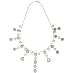 Manpriya B Slice, Rose Cut, White Diamond 18K Gold Fringe Chain Drop Necklace