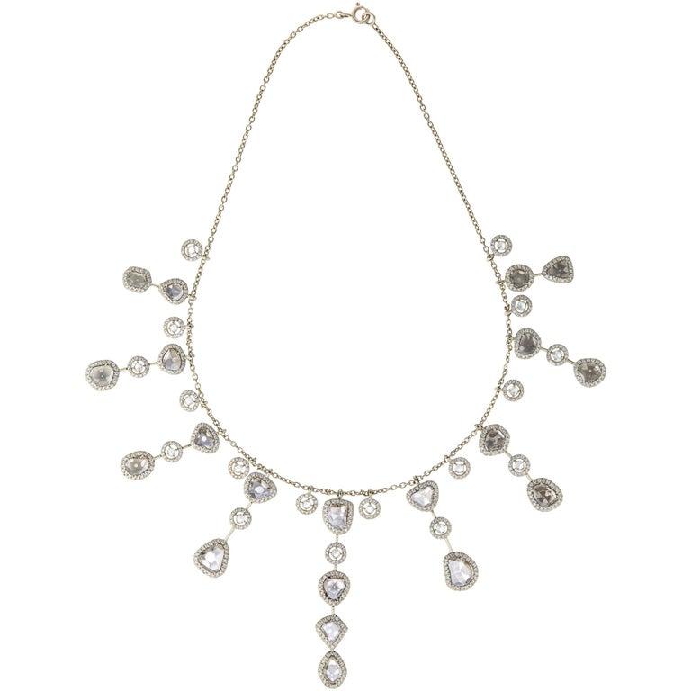 Manpriya B 18 karat Gold Rose Cut and Slice Diamond Fringe Chain Necklace