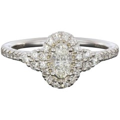 Gabriel & Co White Gold Oval Diamond Halo Engagement Ring