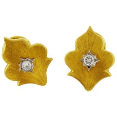 Brushed 18 Karat Gold and Platinum Diamond Clip-On Earrings, by Buccellati