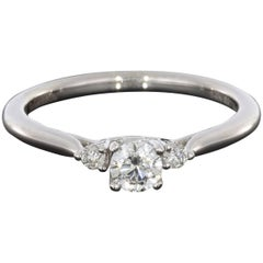 0.25 Carat Round Three-Stone 14 Karat White Gold Diamond Engagement Ring