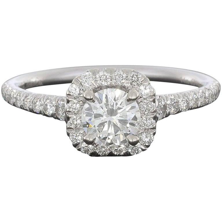 0.50 Carat Round with Cushion Halo 14 Karat White Gold Diamond Engagement Ring