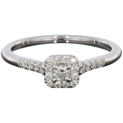 0.08 Carat Round with Princess Halo 14 Karat White Gold Diamond Engagement Ring