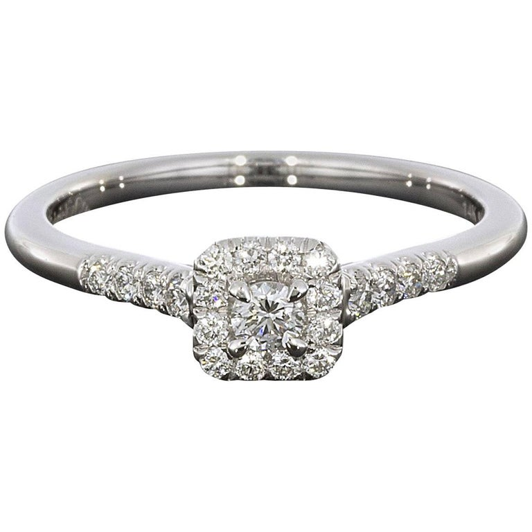 0.08 Carat Round with Princess Halo 14 Karat White Gold Diamond Engagement Ring
