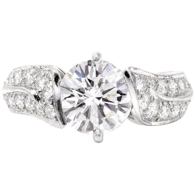 French Van Cleef & Arpels 3.12 Carat Diamond Platinum VCA Engagement Ring