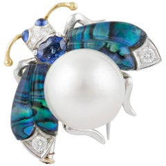 Ella Gafter White South Sea Pearl Blue Sapphire Diamonds Gold Bee Brooch Pin