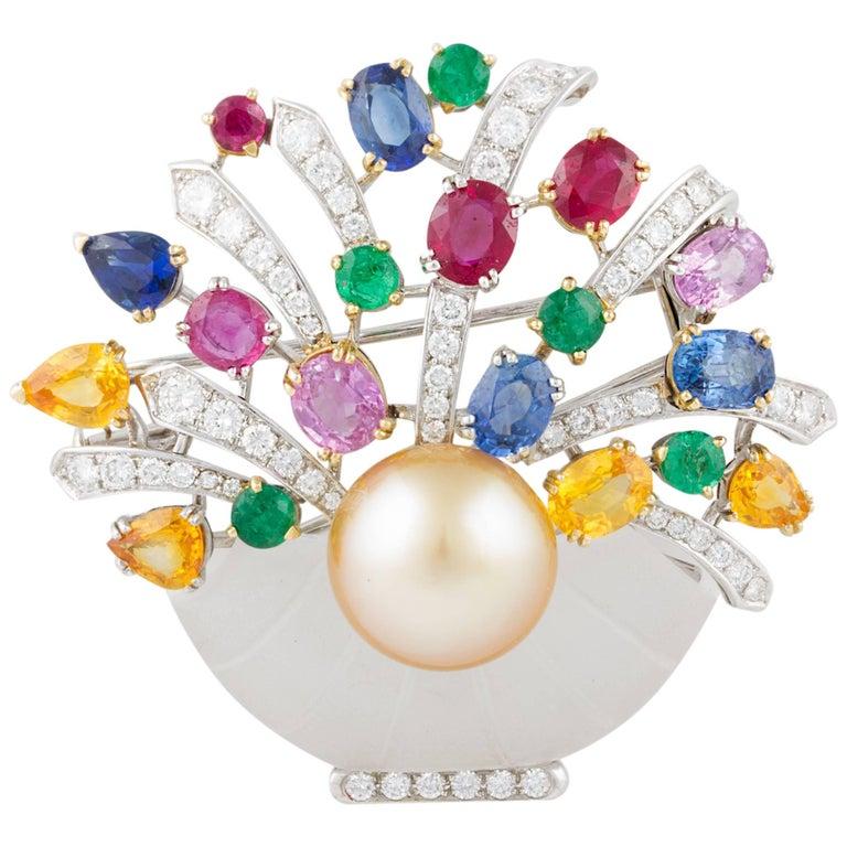 Ella Gafter Sapphire Ruby Emerald Pearl Diamond Flower Basket Brooch Pin For Sale