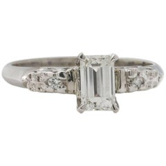 Vintage Engagement Ring Platinum 0.63ct Emerald Cut G-VS1 circa 1950s