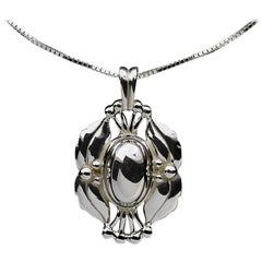 George Jensen Art Nouveau Sterling Silver Heritage Pendant Necklace