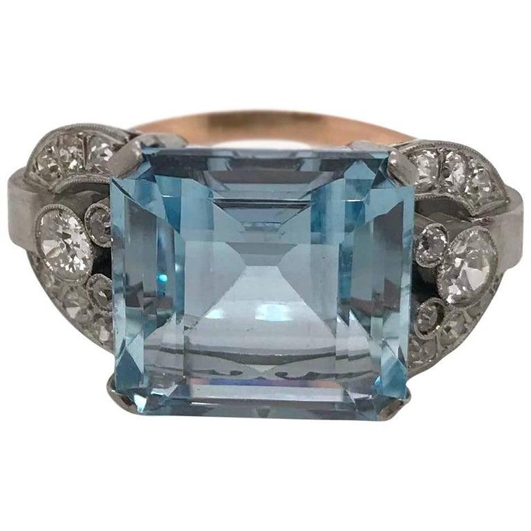 Pink Gold and Platinum Aquamarine and Diamond Vintage Retro Ring