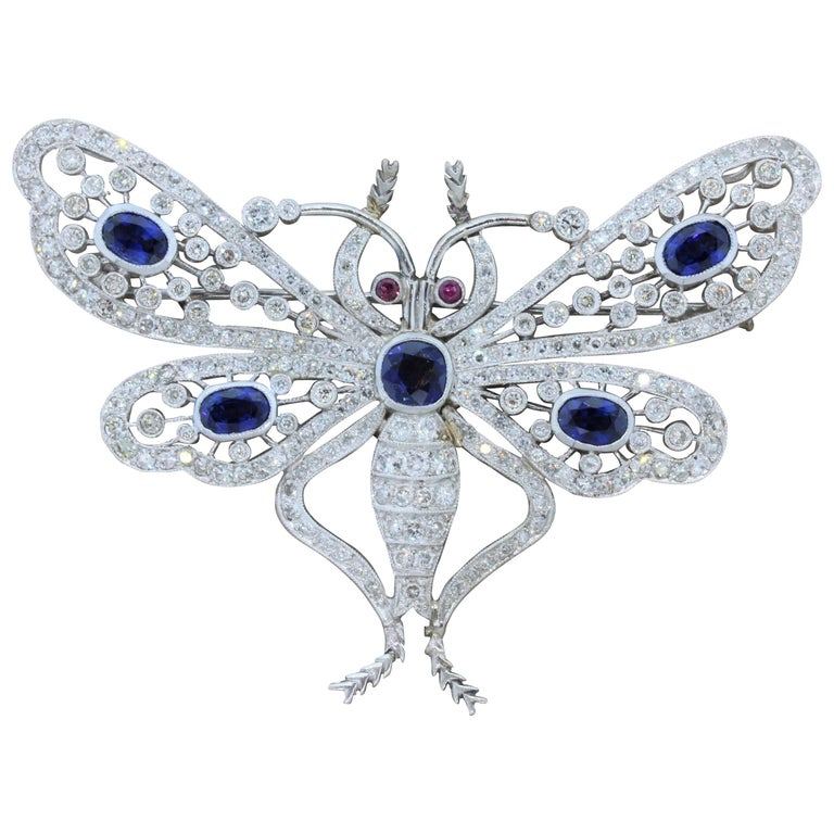 Art Deco Diamond Sapphire Ruby Platinum Butterfly Brooch