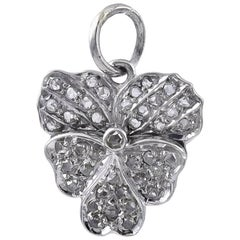 Antique Platinum Pansy Charm with Hidden Message