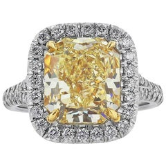 GIA Cert. 5.27 Carat Fancy Yellow Diamond Engagement Gold Platinum Ring