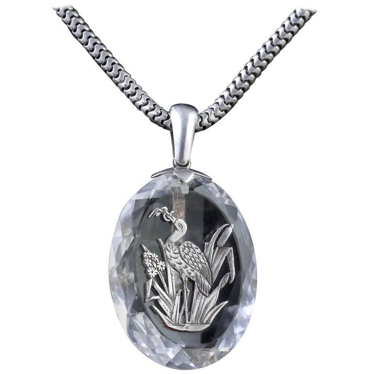 Antique Victorian Rock Crystal Stork Pendant Silver Chain, circa 1900