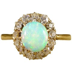 Edwardian Opal and Diamond Engagement Ring in 18 Carat Yellow Gold