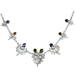 Antique Edwardian Citrine Amethyst Scottish Thistle Necklace, Birmingham, 1906