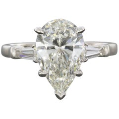 3.02 Carat Pear and Baguette Platinum Diamond Engagement Ring