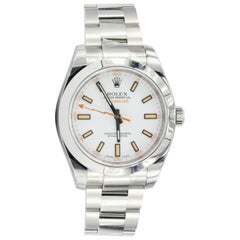 Rolex Stainless Steel Milgauss White Luminescent Dial wristwatch Ref 116400