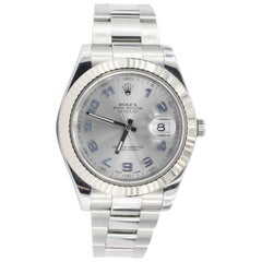 Rolex White Gold Stainless Steel Datejust II Rhodium Dial Wristwatch