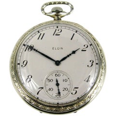 Elgin White Gold Antique Art Deco Pocket Watch, 1922