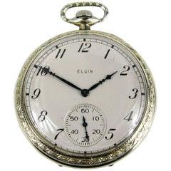 Elgin White Gold Antique Art Deco Pocket Watch, 1922