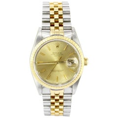 Rolex Yellow Gold Stainless Steel Oyster Perpetual Date Automatic Wristwatch