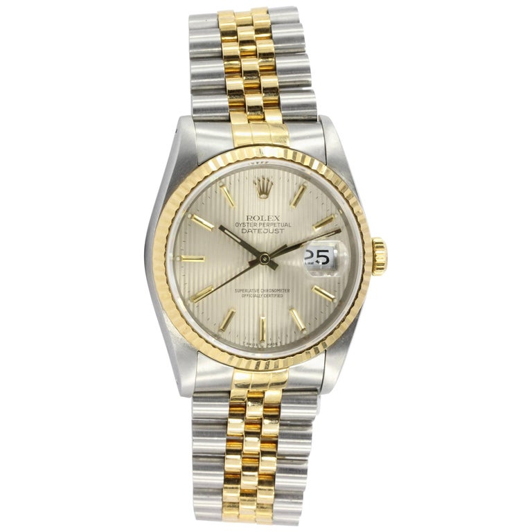 Rolex Yellow Gold Stainless Steel Datejust Tapestry Dial Automatic Wristwatch