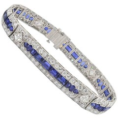 Tiffany & Co Art Deco Burma Sapphire and 11 Carat of Diamond Platinum Bracelet