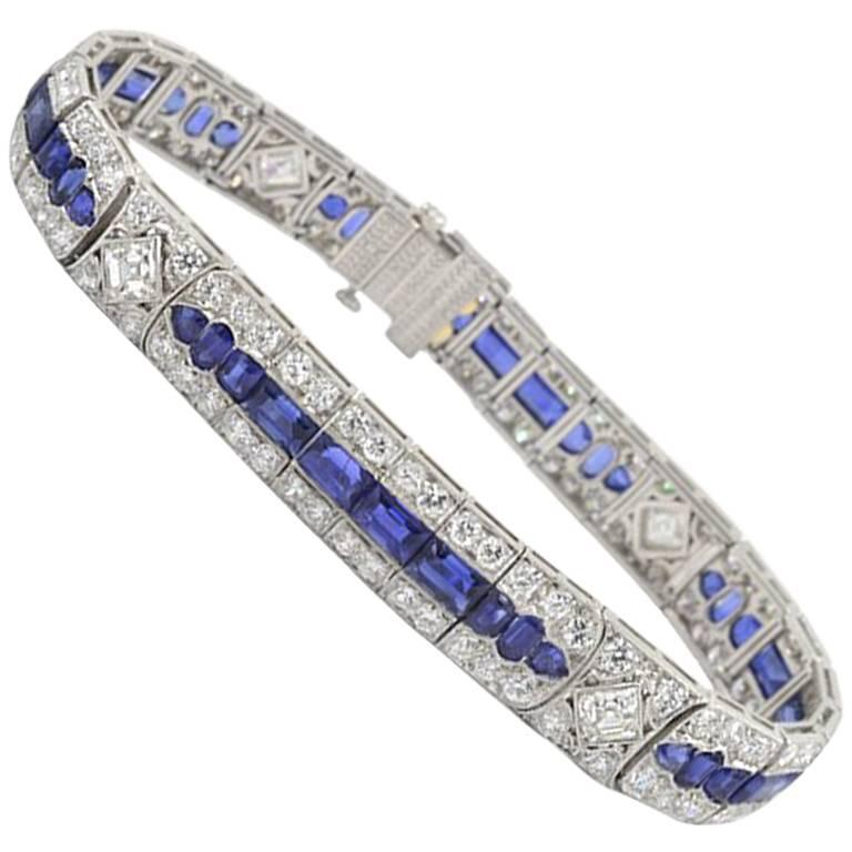 Tiffany & Co Art Deco Burma Sapphire and 11 Carat of Diamond Platinum Bracelet