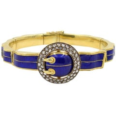 Victorian Blue Enamel and 18 Karat Gold Buckle Bangle with Rose Cut Diamonds