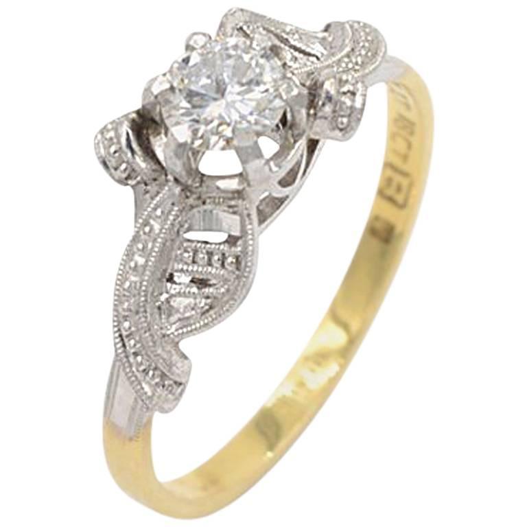 0.40 Carat Round Brilliant Cut Diamond and Platinum and 18 Karat Gold Ring