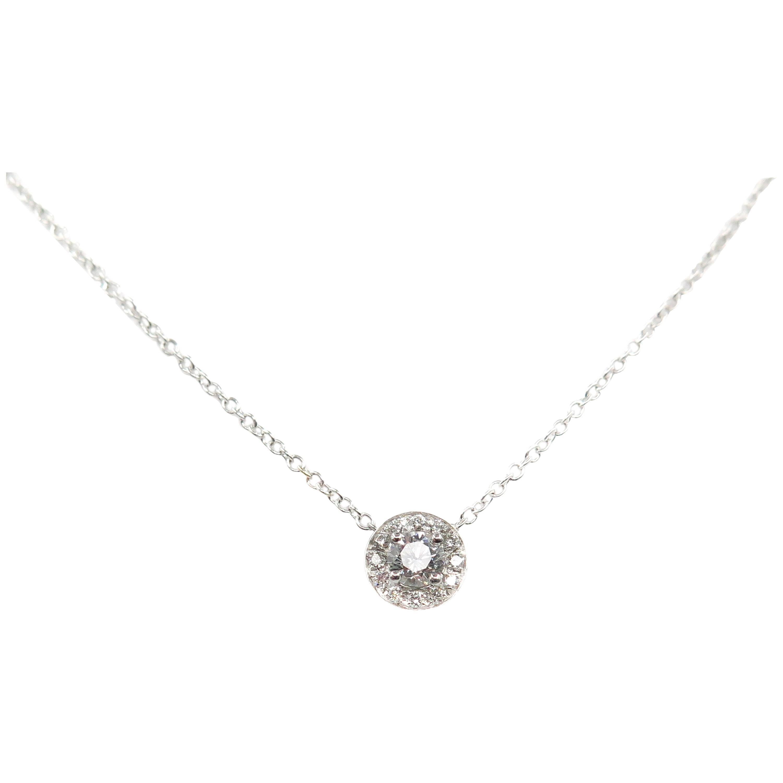 Diamond Halo White Gold Pendant