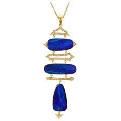 Lauren Harper Boulder Opal, Diamond, Gold Statement Necklace