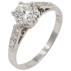 GIA Certified 0.73 Carat Round Brilliant Cut Diamond and Platinum Vintage Ring