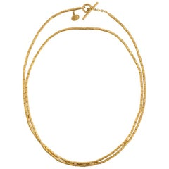 Yossi Harari Pure Gold Bamboo Links Toggle Necklace from the Rachel Collection