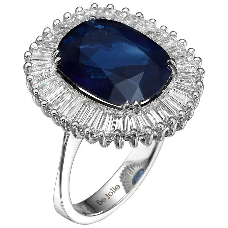 Ballerina Style 6.97 Carat Cushion Cut Blue Sapphire & Diamonds engagement ring For Sale