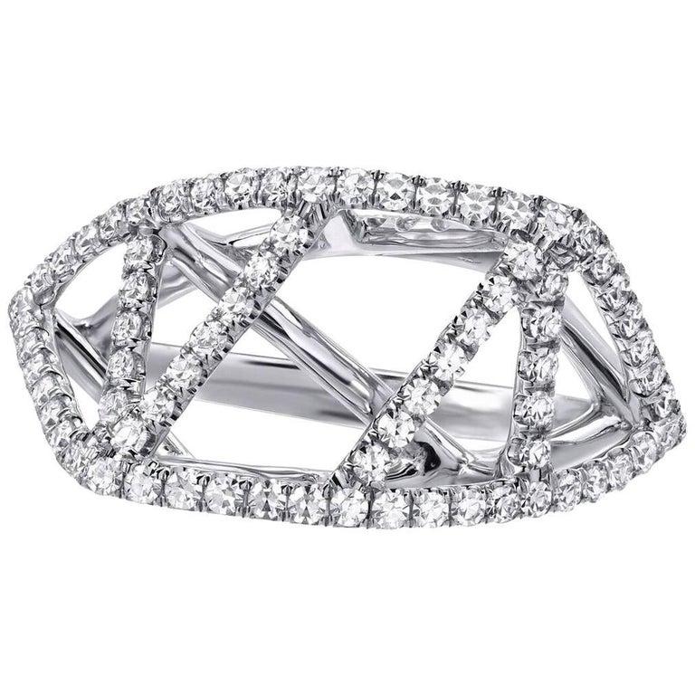 Diamond Lattice White Gold Ring