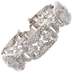 3.75 Carat Platinum Art Deco Plaque Bracelet